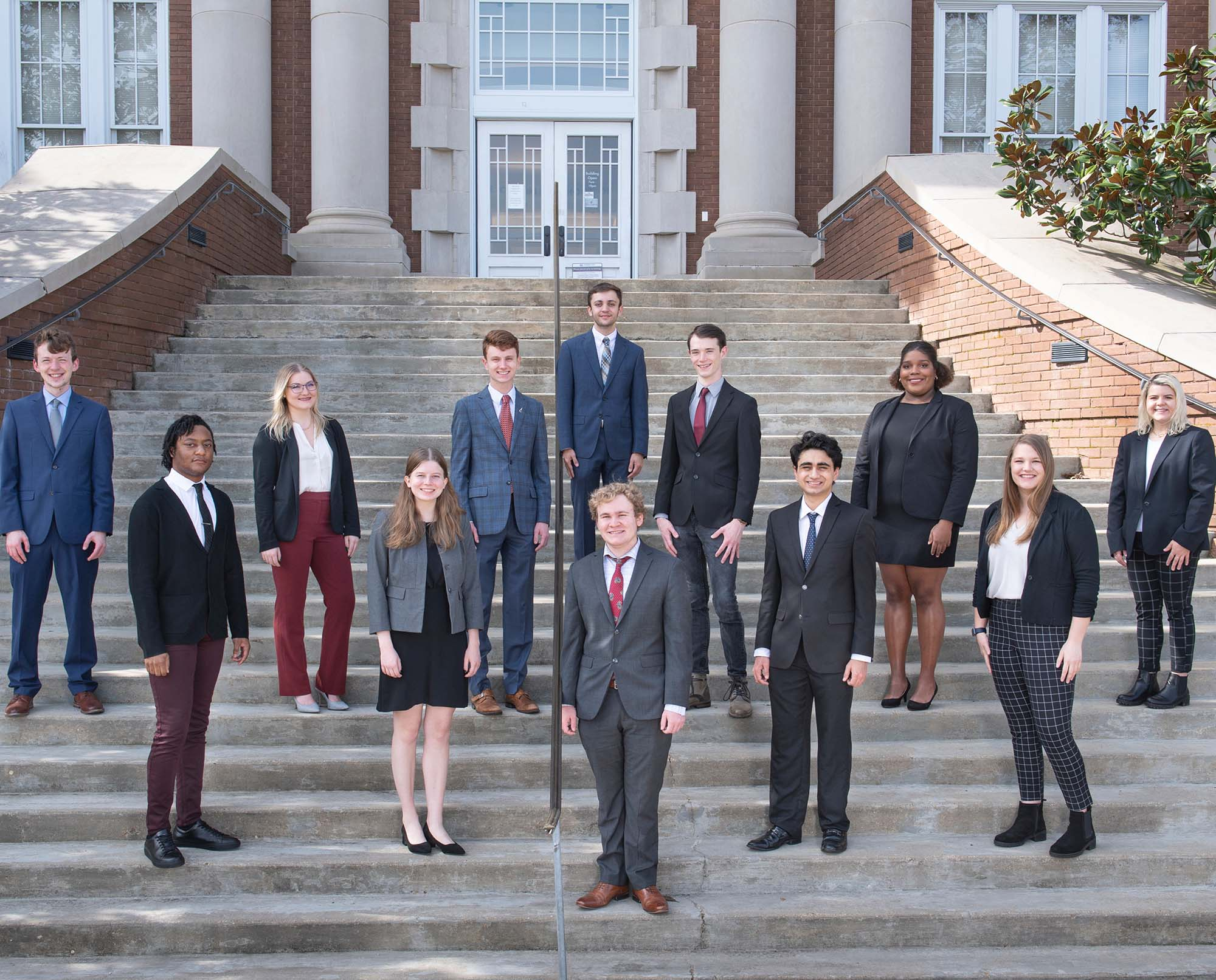 Speech and Debate Council group picture on steps of Lee Hall.